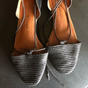Black Lucky Brand Sandals with Ankle Wrap